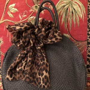 Black Straw Tote with Leopard print bow